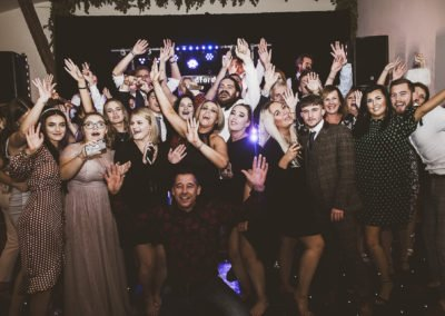 Kent Wedding Band Winters Barns guest with band