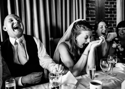 Bride and groom find it funny