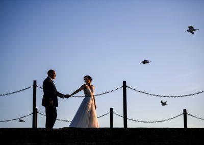 Scott kendal beach front Bride and groom east Key venue