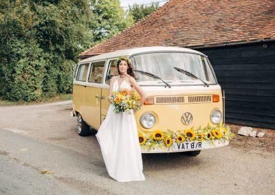 classic camper van with bride